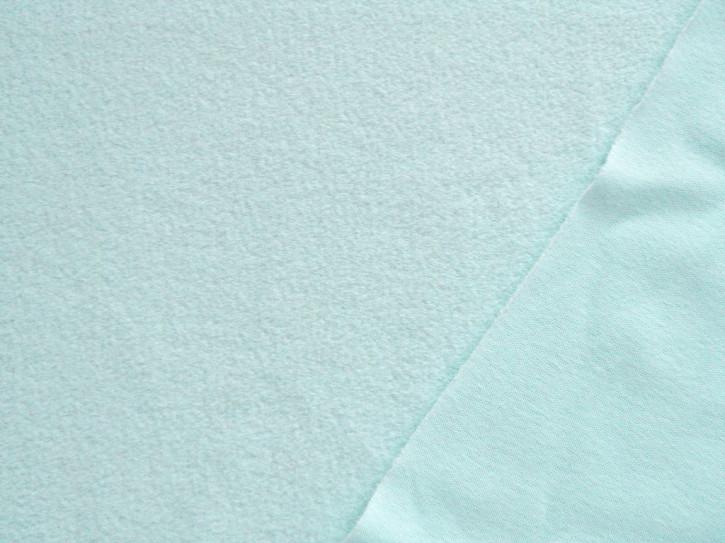 1m Flausch-Wirkfutter-Stoff in eisblau/mint Fb0407