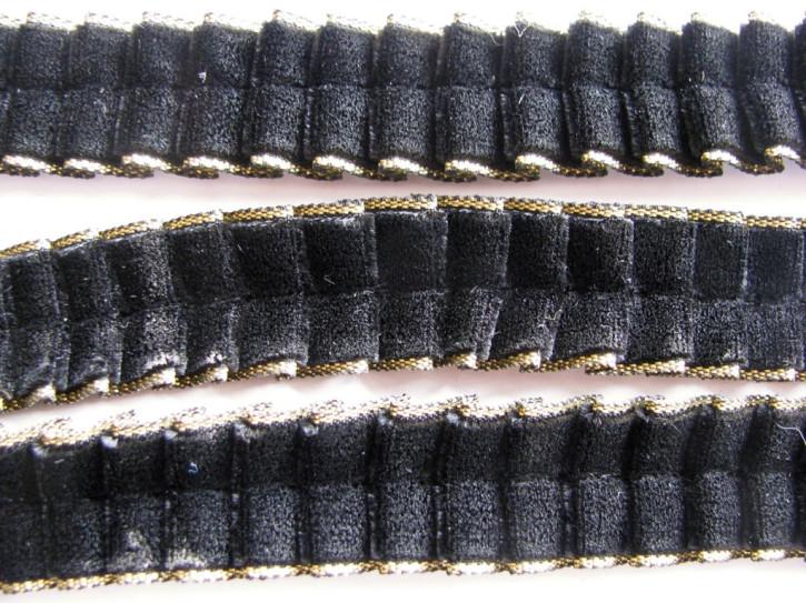 2m Samt-Rüschenborte in schwarz Fb4000 - gold