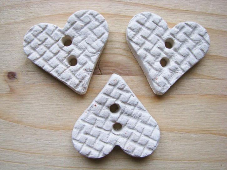 3 Stk./1 Set Herz-Keramik-Knopf-Unikat handgemacht lt. Bild