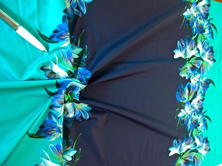 """1m bi-elastische Microfaser/Lycra """"Blue Power-Flower"""""""
