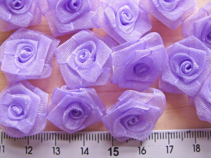 4 Stk.  Organza-Röschen in hell-violett Fb0030