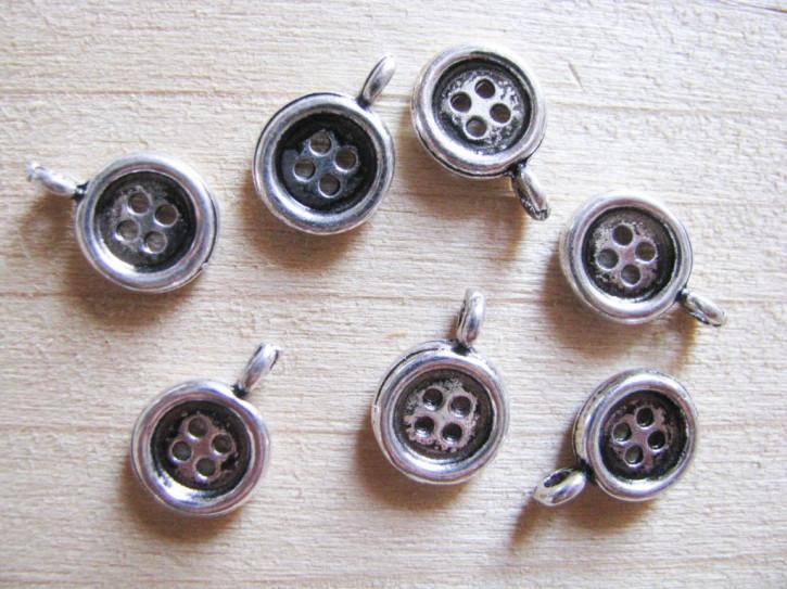 3 Stk. Charmes - Knöpfchen in silber/Metall