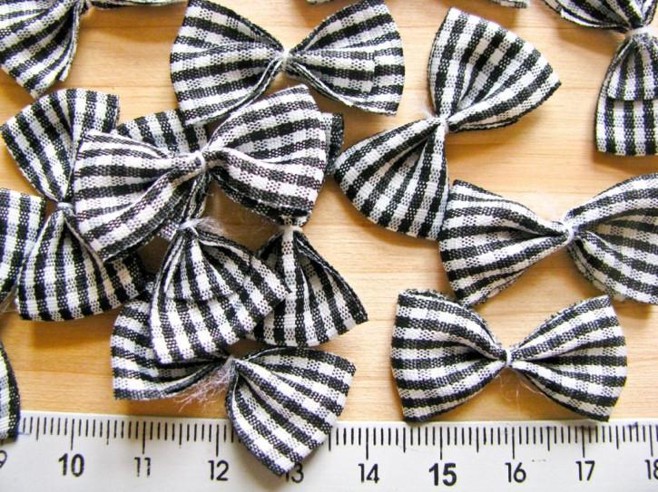 4 Schleifchen in schwarz/weiß karriert