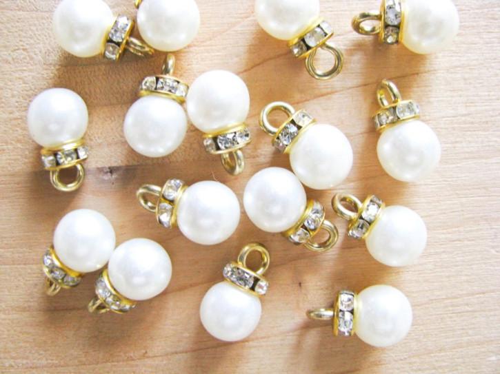 2 Stk. Perlen mit Glitzer-Rondell 8mm