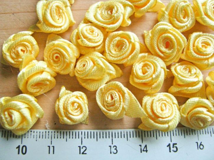 4 Stk. Satin-Röschen in sonnigem Gelb Fb0607
