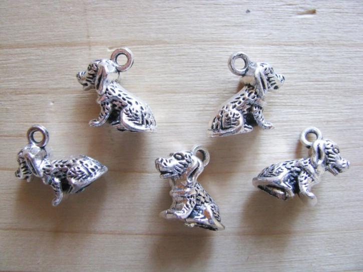 2 Stk. Charmes - Hündchen in silber/Metall