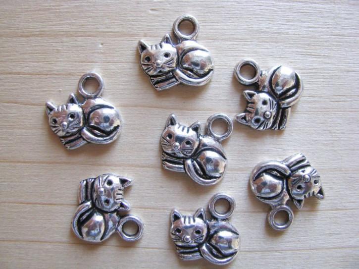 2 Stk. Charmes - Katze in silber/Metall