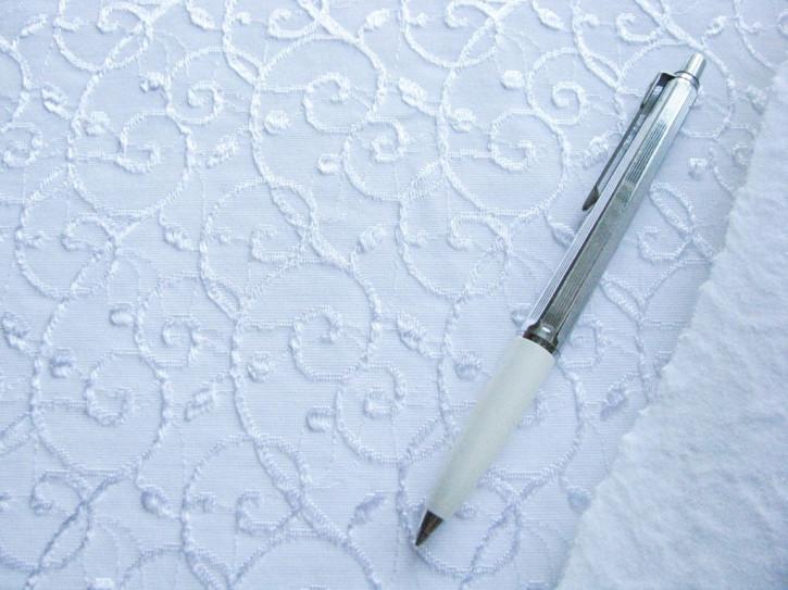 1m elastischer, strukturierter Mieder-/Bodystoff in rein-weiß Fb4000