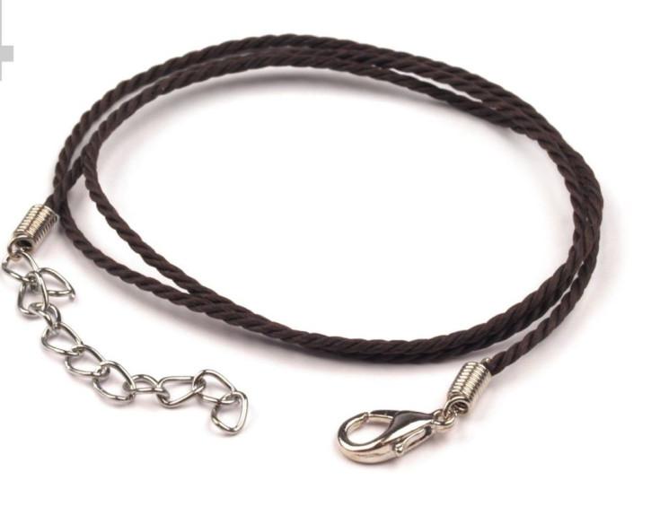 4 Stück Kordel-Halskette mit Karabiner in mocca Fb0395