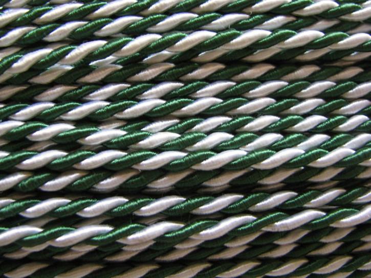 1m Atlas-Kordel in zweifärbig in grün/weiß - 3,5mm