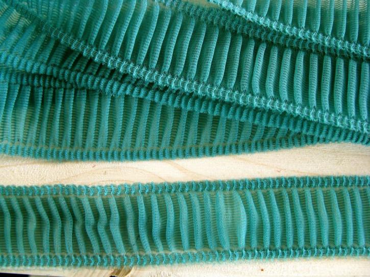 6m zarte Rüschenborte in malachit/türkis-grün Fb1473