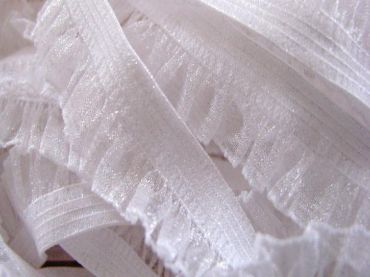 Rüschengummi in rein-weiß, glänzend