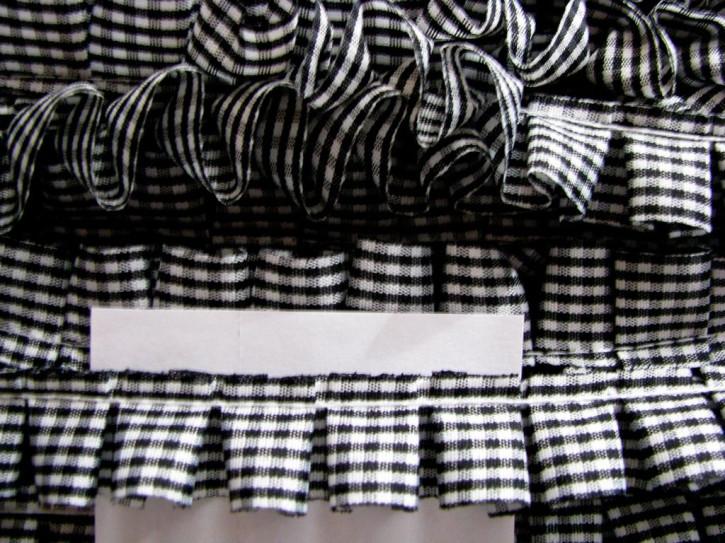 3m Karo-Rüschenborte in schwarz/weiß Fb4000