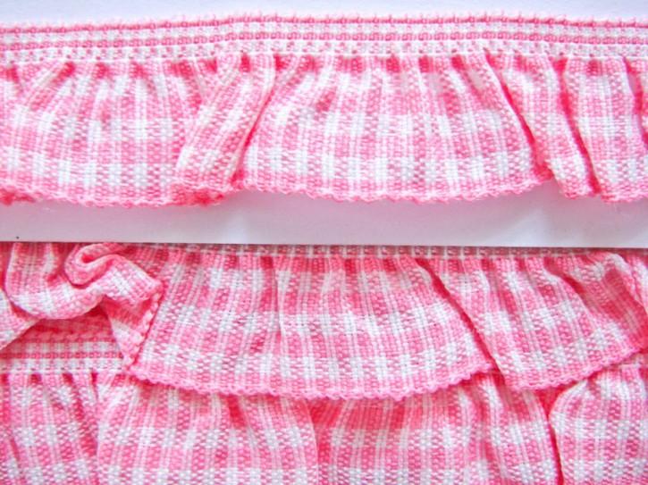 Karo-Rüschengummi in rosa und weiß