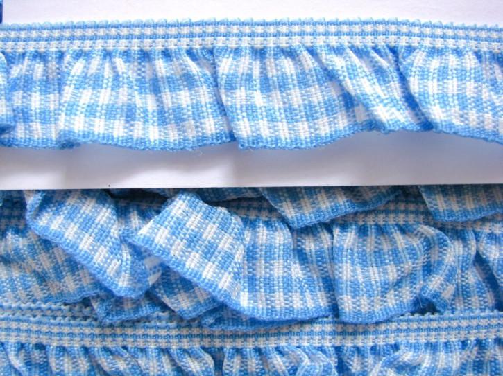Karo-Rüschengummi in blau und weiß