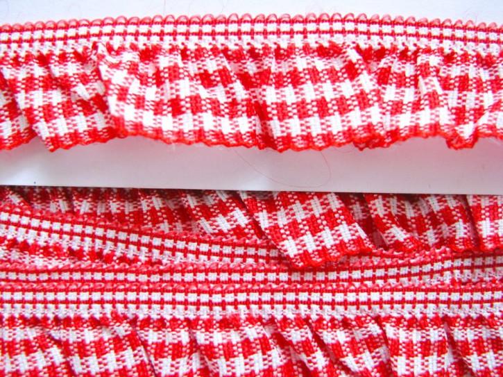 6m Karo-Rüschengummi in rot und weiß