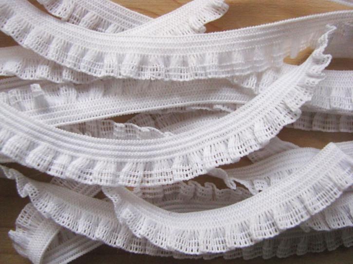 6m Schmuck-Wäschegummi in rein-weiß Fb2000 mit zarten Rüschen