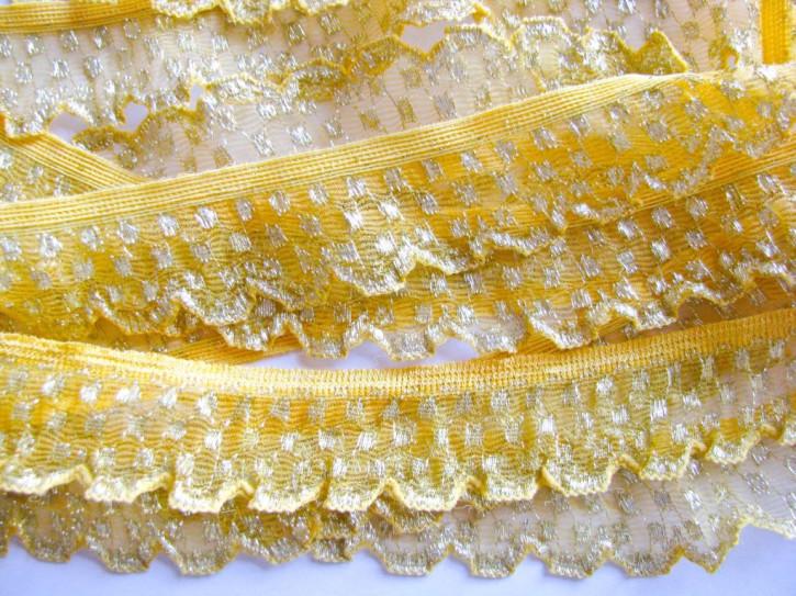 5m Rüschengummi in sonnengelb und gold