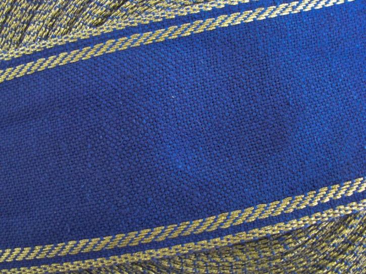 1m Leinen-Stickband in königs-blau mit Gold-Kante - 6,8cm