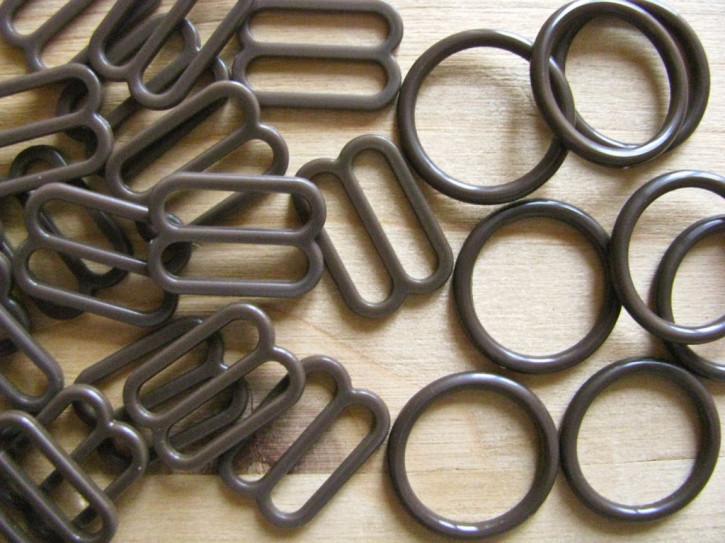 4 Schieber und 4 Ringe in kaffee-braun Fb1134 - 14mm