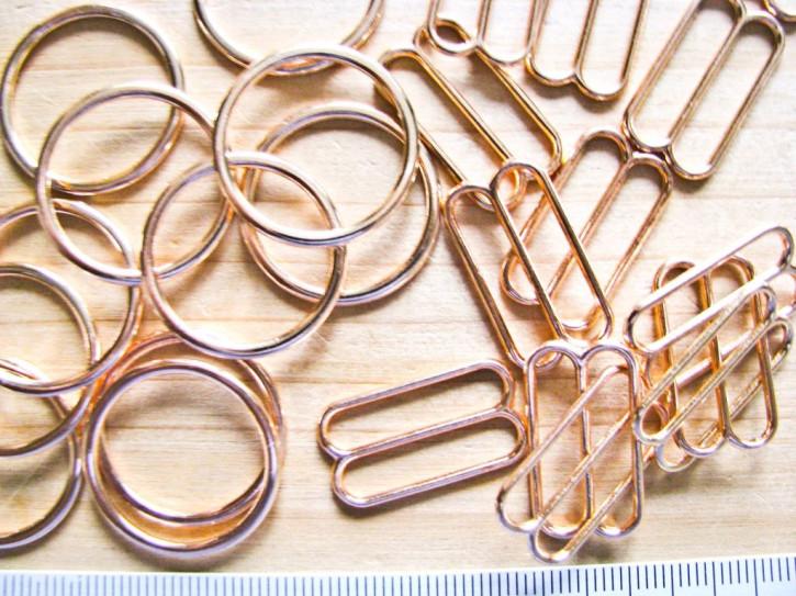 4 Schieber und 4 Ringe Metall in rose-gold (nickelfrei) - 20mm