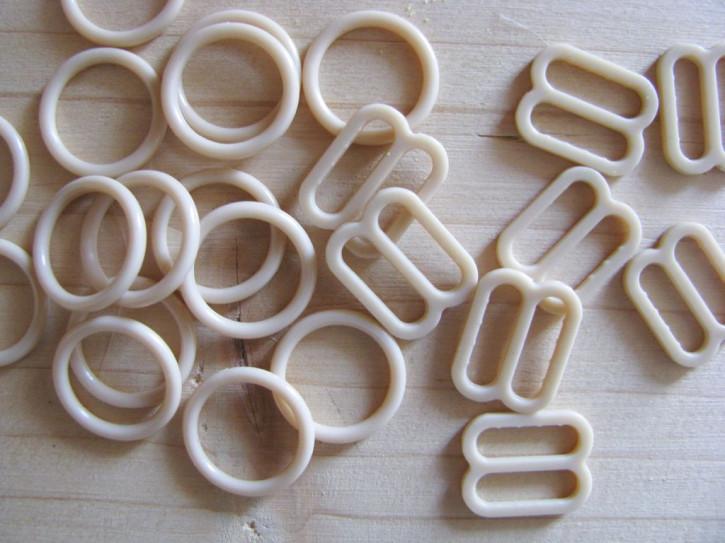 4 Schieber und 4 Ringe in h.beige Fb1222 - 10mm