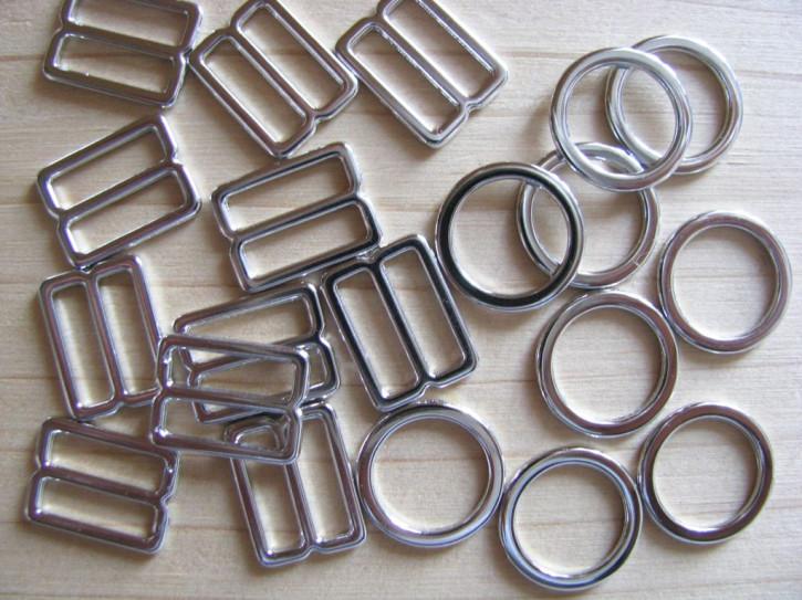 4 Schieber und 4 Ringe Metall in silber - 10mm