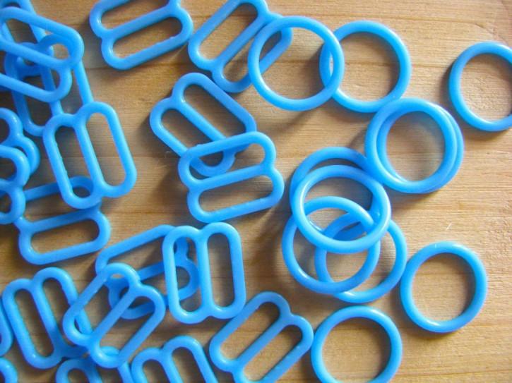 4 Schieber und 4 Ringe in kräftiges gobelin-blau Fb0338 - 10mm