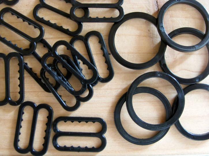 4 Schieber und 4 Ringe in schwarz Fb4000 - 14mm