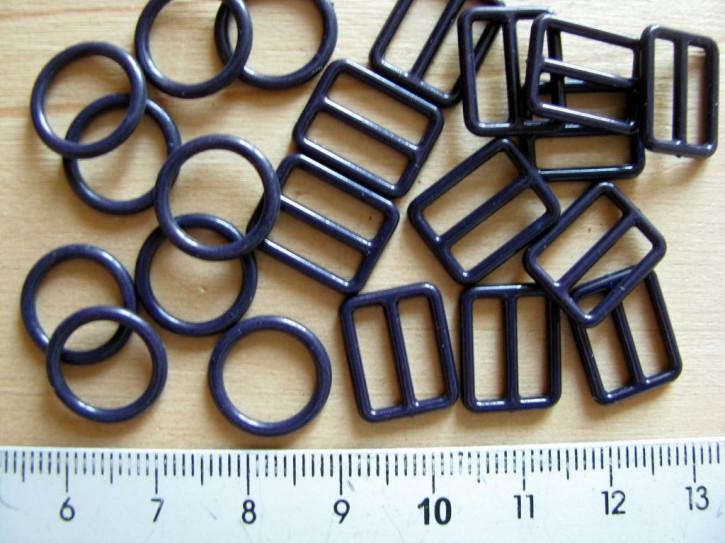 4 Schieber und 4 Ringe in abend-blau Fb0810 - 10mm