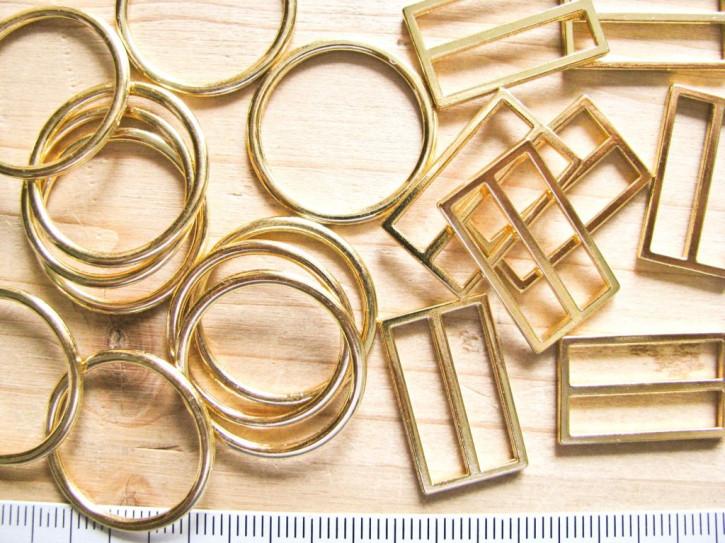4 Schieber und 4 Ringe Metall in gold (nickelfrei) - 19mm