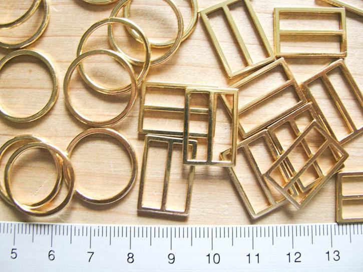 4 Schieber und 4 Ringe Metall in gold (nickelfrei) - 16mm