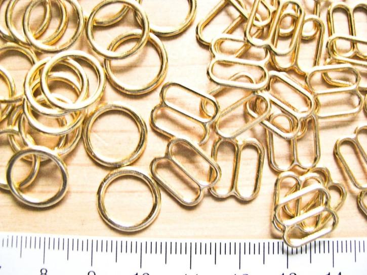 4 Schieber und 4 Ringe Metall in gold (nickelfrei) - 10mm