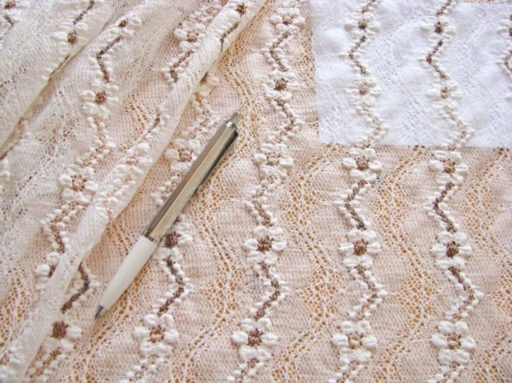 1m bi-elastische All-Over-Spitze in off-white Fb1000, beige und braun