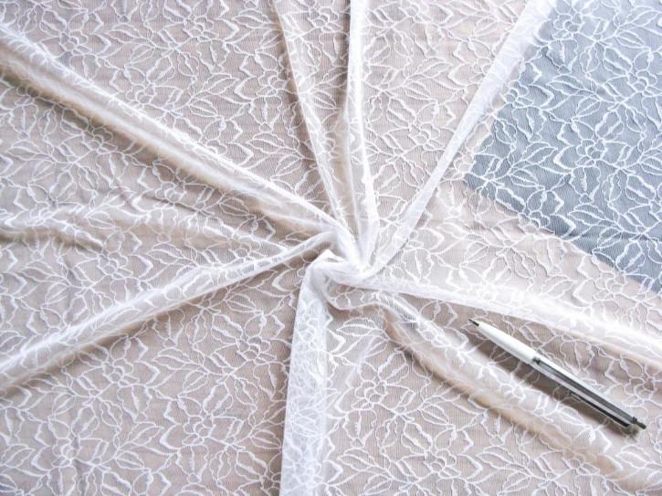 1m bi-elastische All-Over-Spitze in rein-weiß Fb2000