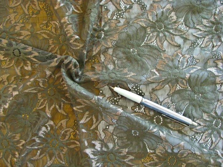 1m elastische All-Over-Spitze in khaki und glänzendem savannen-beige Fb1162...