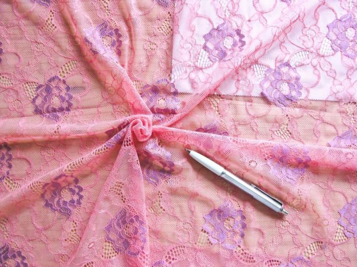 1m elastische All-Over-Spitze in h.flamingo und glänzendem zyklame Fb0103...