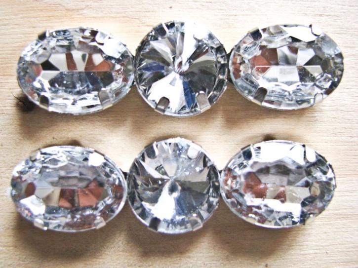 1 Stk. Glitzerstein zum Annähen in kristall-klar oval