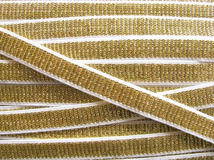 5m Satin-Träger-Gummi in weiß/gold Fb2000