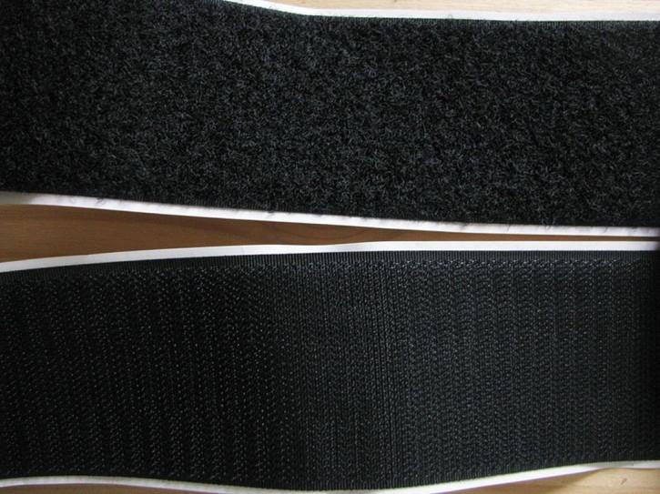 2m - Klettband selbstklebend in schwarz 50mm