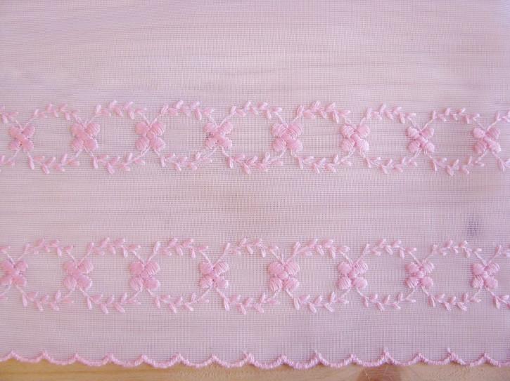 bestickte Edel-Spitze in weiß/rosa