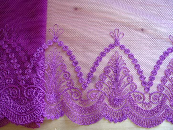 1m Edel-Spitze bestickt in rotviolett/magenta Fb1062