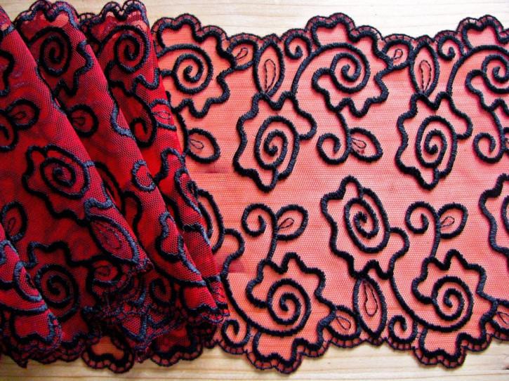1m Stickerei-Spitze in kräftigem rot, schwarz bestickt
