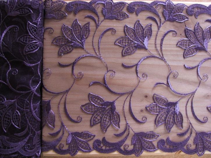 1m Stickerei-Spitze in metall-lila Fb0579