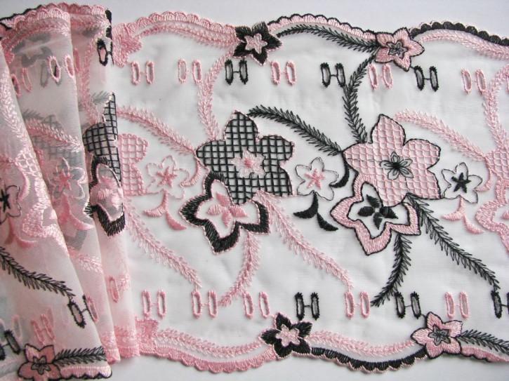 1m Stickerei-Spitze in rein-weiß, bestickt in schwarz und rosa