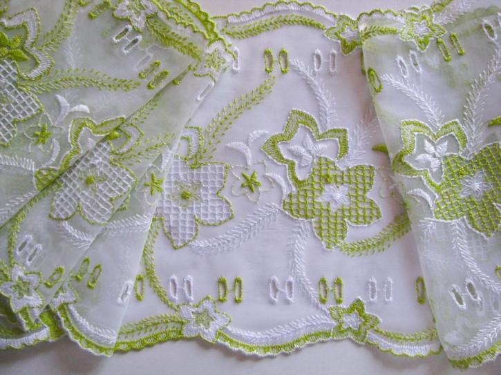 1m Stickerei-Spitze in rein-weiß, bestickt in apfelgrün und weiß