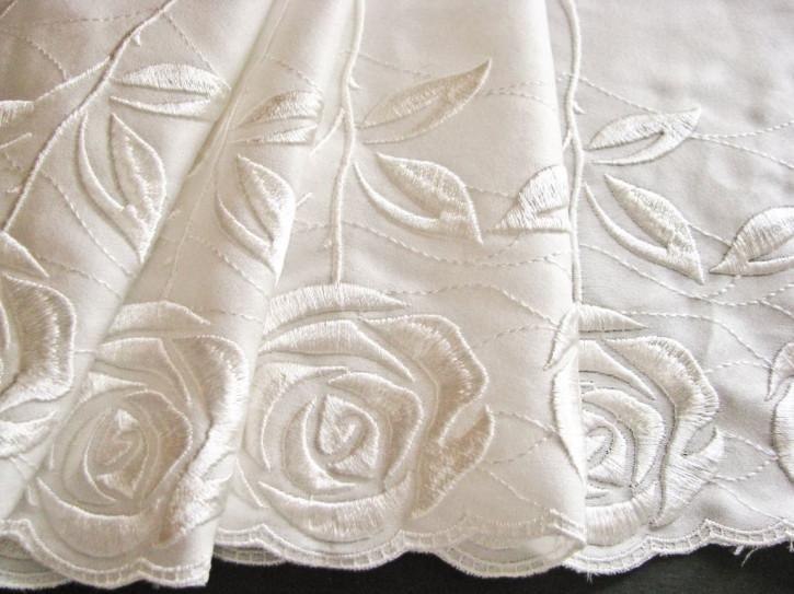 """1m feinste Spitze """"Roses"""" in einem Hauch von ivory/off-white Fb1002"""