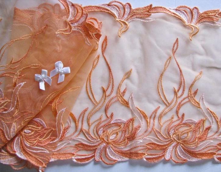 "1m edle Dessous-Spitze bestickt ""Orange Fire"" in jaffa Fb1335"