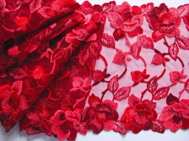 """1m Stickerei-Spitze """"Shades of Red"""""""