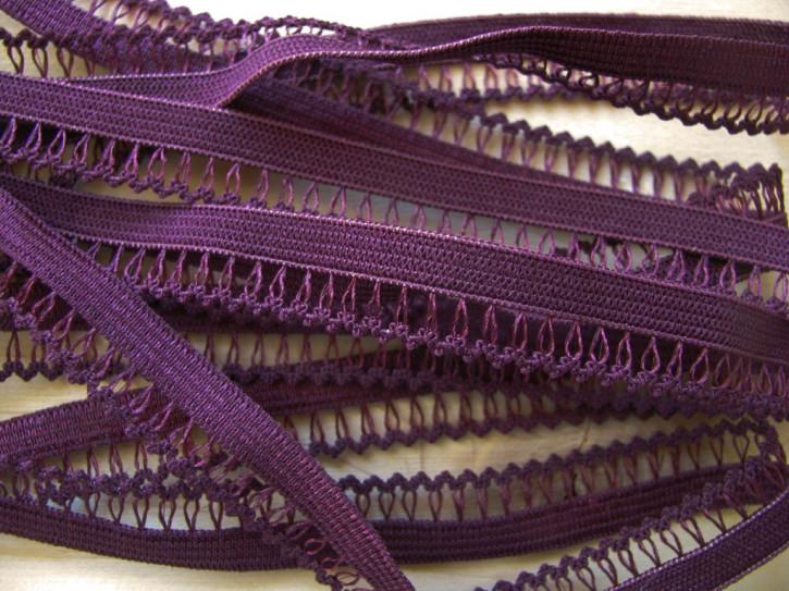 6m Spitzen-Wäschegummi in dunklem brombeer Fb0158 ins aubergine